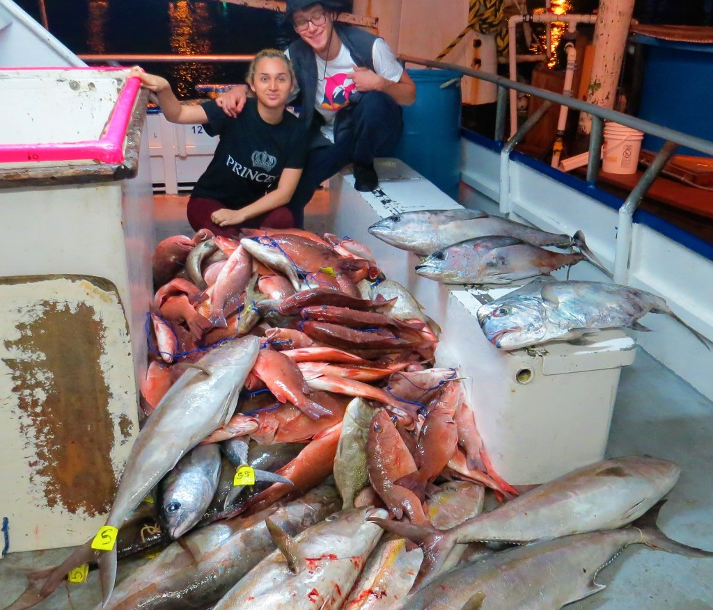 Yesenia and Brian Babcock from Lakeland posing with the latest 39 hour catch at Hubbard's Marina