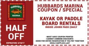 Hubbard's Marina Kayak/Paddleboard Rental Coupon